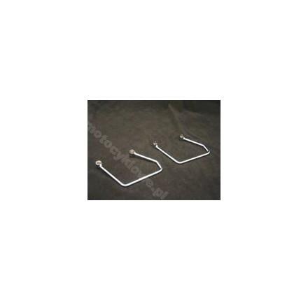 Zestaw srebrnych wsporników toreb podsiodłowych do XVS 1100 CL / 1600A. Producent: Highway Hawk.