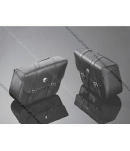 Skórzane torby podsiodłowe gładkie. Wymiary: długość 36 cm, wysokość 26 cm, głębokość 14 cm. Producent: Highway Hawk.