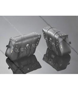 Skórzane torby podsiodłowe wysadzane ćwiekami. Wymiary: długość 36 cm, wysokość 26 cm, głębokość 14 cm. Producent: Highway Hawk.
