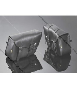 Skórzane torby podsiodłowe gładkie. Wymiary: długość 50 cm, wysokość 30 cm, głębokość 16 cm. Producent: Highway Hawk.