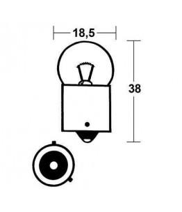 Bursztynowa żarówka 12V 10W BAU15S. Wymiary: średnica żarówki: 18,5 mm, całkowita długość: 38 mm. Odpowiednia jedynie do kierun