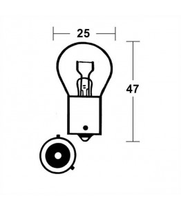 bulb12V/21W BAU 15S, silver, e-mark, yellow light