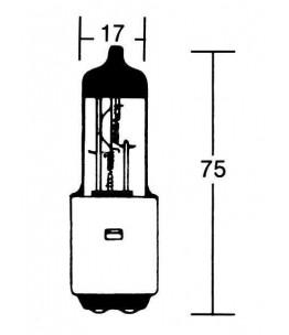 Żarówka H4 z podwójnym gniazdem 12V 35/35W, BA20D. Wymiary: średnica żarówki: 17 mm, całkowita długość: 75 mm. BA20D