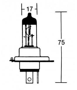 Żarówka H4 12V 60/55W P43T. Wymiary: średnica żarówki: 17 mm, całkowita długość: 75 mm. Żarówka o zwiększonej żywotności odporn