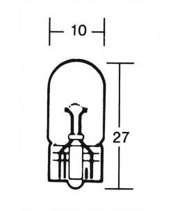 Żarówka 12V 3W, W2, 1, całkowita długość: 9, 5D . Wymiary: średnica żarówki: 10 mm, całkowita długość: 27 mm.