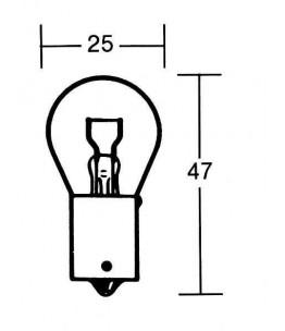 Żarówka 12V 21W BA15S. Wymiary: średnica żarówki: 25 mm, całkowita długość: 47 mm.