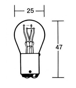 Żarówka 6V 21/5W BAY15D . Wymiary: średnica żarówki: 25 mm, całkowita długość: 47 mm.