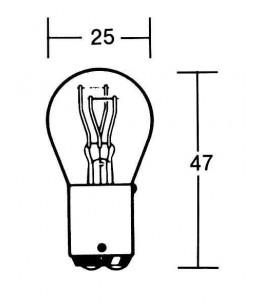 Żarówka 12V 21/5W BAY15D . Wymiary: średnica żarówki: 25 mm, całkowita długość: 47 mm.