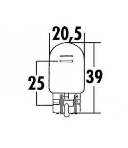 Żarówka światła tylnego 12V 21/5W W3x16Q ze szklaną podstawą. Wymiary: średnica żarówki: 20,5 mm, całkowita długość: 39 mm, dłu