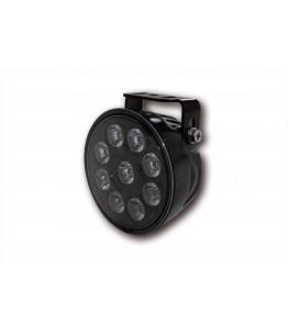 Reflektor światło długie LED HIGHSIDER z okrągłą jasną soczewką. Czarna żebrowa obudowa z uniwersalnym mocowaniem. 9 diod LED.