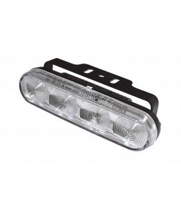 Światła dzienne LED, 4 diody, funkcja świateł postojowych prostokątna obudowa z aluminium