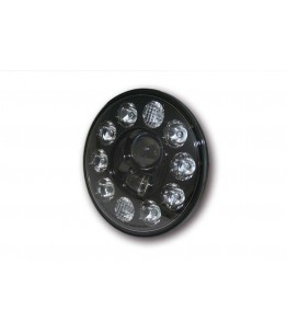 Wkład reflektora LED 7- calowy, okrągły z czarnym wykończeniem, światła drogowe, mijania i pozycyjne, z homologacją EU