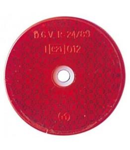 odblask, czerwony, okrągły, średnica 60 mm, z otworem montażowym, z homologacją EU