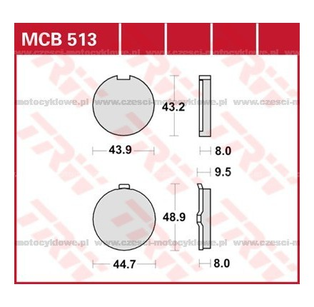 Klocki hamulcowe TRW MCB513