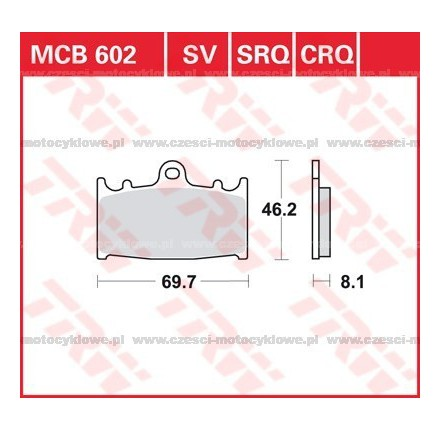 Klocki hamulcowe TRW MCB602SV