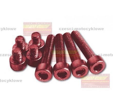 Zestaw śrub aluminiowych czerwonych