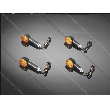 Zestaw kierunkowskazów MINI, czarne, krótkie, posiadają homologację EU. Producent: Highway Hawk.