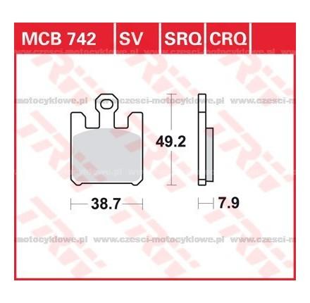 Klocki hamulcowe TRW MCB742SCR